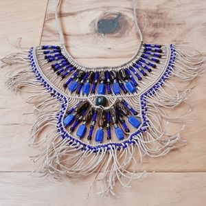 Vintage Beaded African Jute Bib Choker Necklace